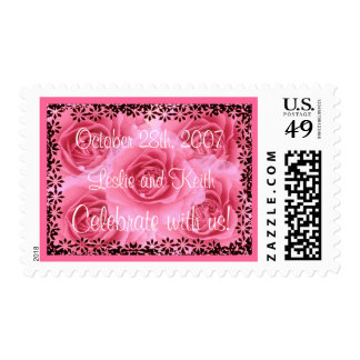 Pink Roses Wedding Stamp(large size stamp) Stamps