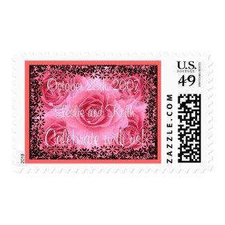 Pink Roses Wedding Stamp(medium size stamp) Stamp