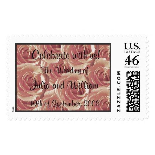Pink Roses Wedding Stamp