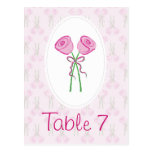 Pink Roses Wedding Table Numbers Post Card