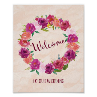 Pink Roses Welcome Wedding Poster Print