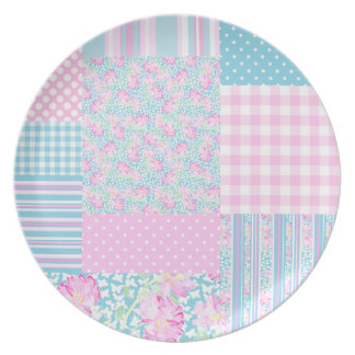 Pink Roses, White Butterflies Faux Patchwork Plate