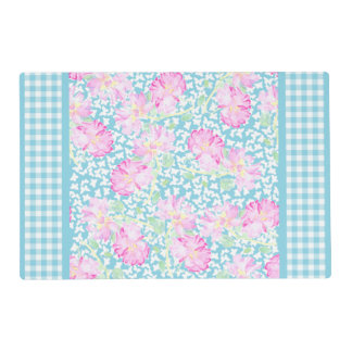 Pink Roses, White Butterflies, Gingham Placemat