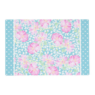Pink Roses White Butterflies Polka Dots Placemat