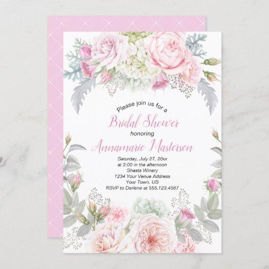 Pink Roses White Hydrangeas Greenery Bridal Shower Invitation