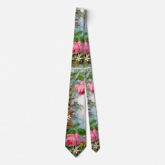 PINK ROSES, WHITE JASMINES,GREEN LEAVES Floral Neck Tie