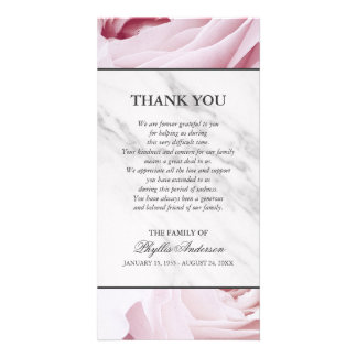 Pink Roses White Marble Memorial Service Thank You Card