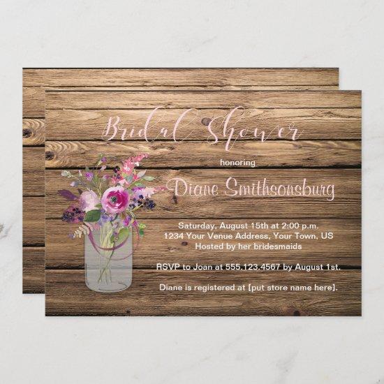 Pink Roses Wildflowers Barn Wood Jar Bridal Shower Invitation