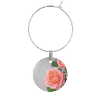 Pink Roses Wine Glass Charm
