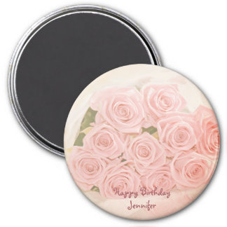Pink roses with birhday text magnet