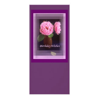 Pink Roses With Border Custom Rack Cards