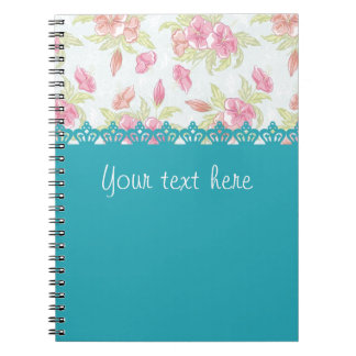 Pink roses with ligth blue crowns libreta