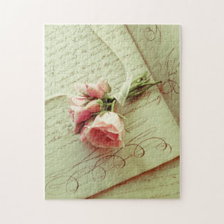Pink roses with ribbon on old handwriting jigsaw puzzle