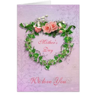 Pink Roses Wreath Mother's Day Card