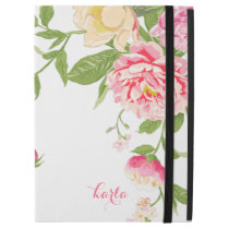 "Pink Roses & Yellow Spring Bloom On White iPad Pro 12.9"" Case"