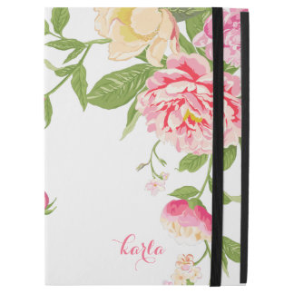"""Pink Roses & Yellow Spring Bloom On White iPad Pro 12.9"""" Case"""