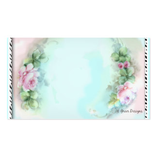 Pink Roses Zebra Print Business Cards