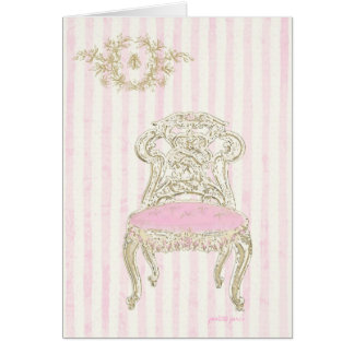 Pink Rosettes French Chair Card with Frenchie Bee