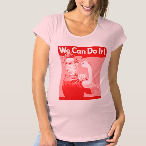 "Pink Rosie the Riveter ""We Can Do It!"" Maternity T-Shirt"