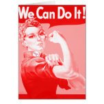 """Pink Rosie the Riveter """"We Can Do It!"""" Note Card"""