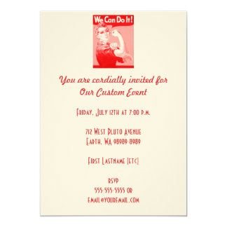 """Pink Rosie the Riveter """"We Can Do It!"""" Poster Card"""