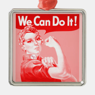 "Pink Rosie the Riveter ""We Can Do It!"" Poster Metal Ornament"