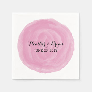 Pink Round Watercolor Paper Napkins