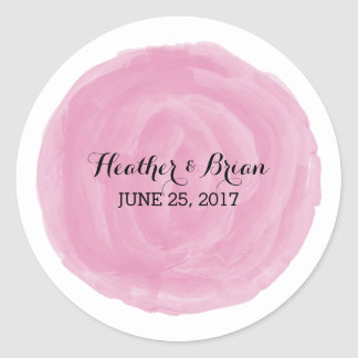 Pink Round Watercolor Wedding Stickers