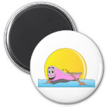 Pink Row Boat Cartoon Magnets