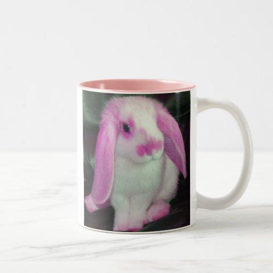 Pink roxy rabbit Two-Tone coffee mug