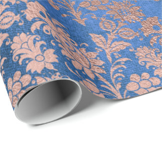 Pink Royal Gold Floral Powder Floral Rose Cobalt Wrapping Paper