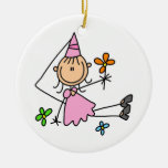 Pink Royal Princess Double-Sided Ceramic Round Christmas Ornament
