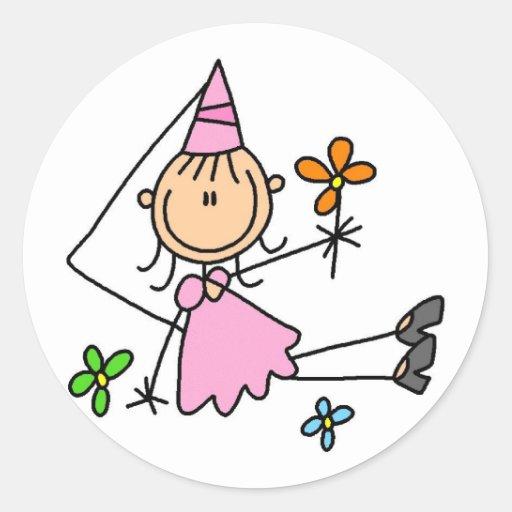 Pink Royal Princess Round Stickers