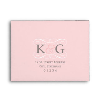 Pink RSVP Envelopes with Gray Address
