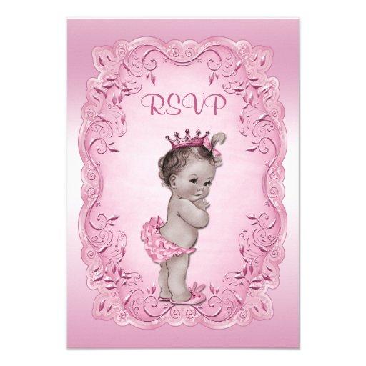 Pink RSVP Vintage Princess Baby Shower Personalized Invitations