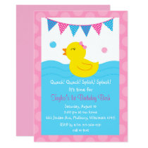 Pink Rubber Duck 1st Birthday Card