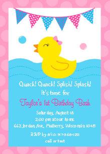 Duck birthday invitations zazzle pink rubber duck 1st birthday invitation filmwisefo