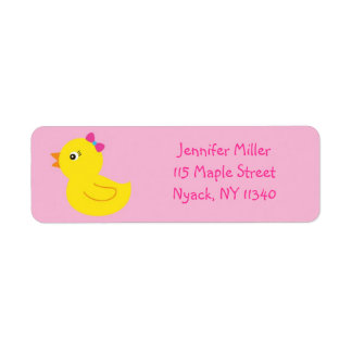 Pink Rubber Duck Address Labels