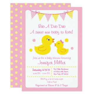 Pink Rubber Duck Baby Shower Invitations