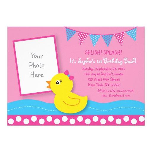 Pink Rubber Duck Birthday Invitations Invite