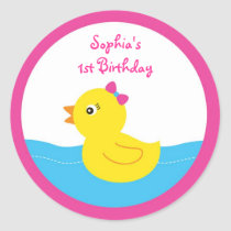 Pink Rubber Duck Birthday Stickers