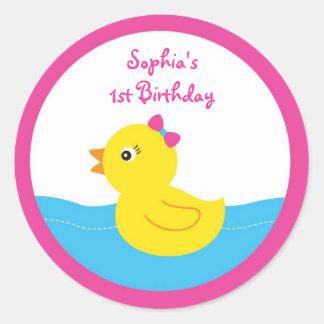 Pink Rubber Duck Birthday Stickers