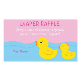 Pink Rubber Duck Diaper Raffle Tickets Double-Sided Standard Business Cards (Pack Of 100)