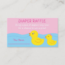Pink Rubber Duck Diaper Raffle Tickets Enclosure Card
