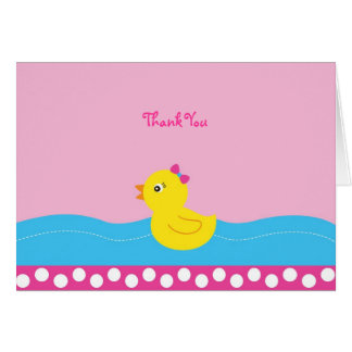 Pink Rubber Duck Thank You Note Cards