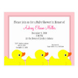 Pink Rubber Ducky Shower Invitation Post Card