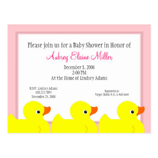 Pink Rubber Ducky Shower Invitation Postcard