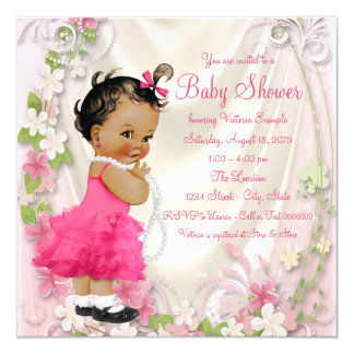 Pink Ruffle Dress Pearls Ethnic Girl Baby Shower Card