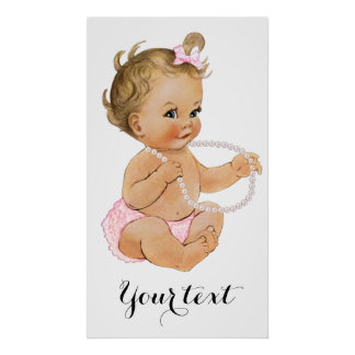 Pink Ruffle Pants Pearls Girl Baby Shower Poster