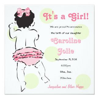 Pink Ruffled Girl Baby Bottom Card